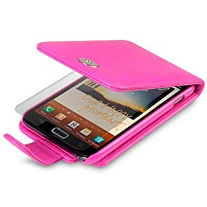 HOT PINK SAMSUNG GALAXY NOTE PU LEATHER FLIP CASE / COVER / POCKET / POUCH, WITH SCREEN PROTECTOR