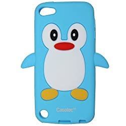 Casotec Penguin Silicone Jelly Back Case Cover for Apple iPod Touch 5th Generation - Ocean Blue