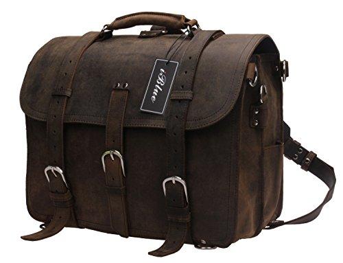 Iblue Vintage Real Genuine Leather Laptop Briefcase Backpack Large Travel Messenger Bag 16.5 In #B72 (L, dark brown)