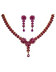 Gehna Ruby Stone Studded Flower Shape Necklace Set Made In Silver Alloyed Metal