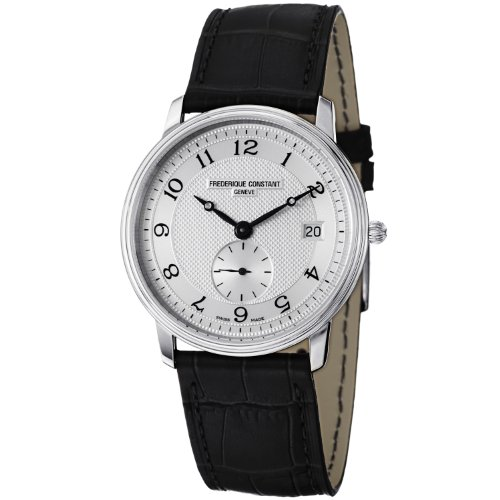 Frederique Constant Mens FC 245AS4S6 Slim Line Black Leather Strap Watch