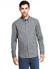 Pure Cotton Herringbone Striped Denim Shirt