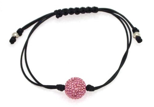 Black Cotton Knotted Bangle Type Adjustable Bracelet with Pink Crystal Bead