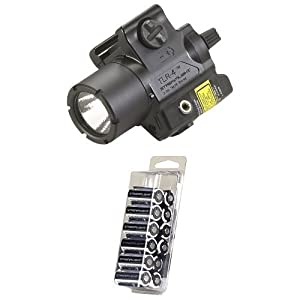 Streamlight 69240 TLR-4 Compact Rail Mounted Tactical Light with Laser Sight and 12-Pack of CR123A Lithium Batteries