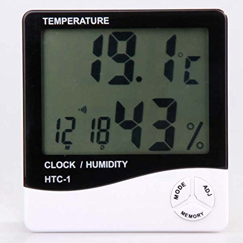 Sztrokia LCD Display Temperature and Humidity Meter with Alarm Clock Hygrometer and Calendar Thermometer