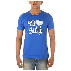 Chennai Gaga Men's Round Neck Cotton T-shirt I Love Thamizh 113-3-837-Franceblue-M