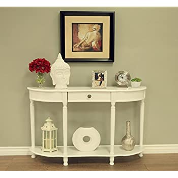 Frenchi Home Furnishing Console Sofa Table with Drawer, White