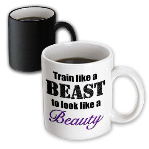 Evadane - Funny Quotes - Train Like A Beast To Look Like A Beauty, Purple, - Mugs - 11Oz Magic Transforming Mug (Mug_149818_3)