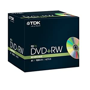 TDK DVD+RW Recordable Disk Rewritable Cased 4x Speed 120min 4.7Gb Ref DVDRW474X10 [Pack of 10]