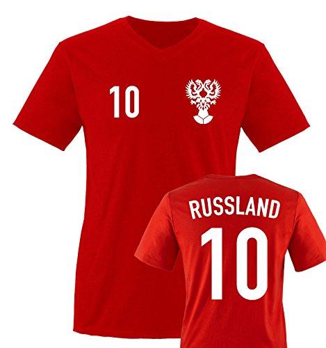 EM 2016 – TRIKOT – EM 2016 – RUSSLAND – 10 – Herren V-Neck T-Shirt – Rot / Weiss Gr. XXL