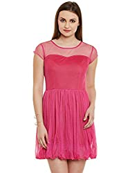 Magenta Solid NET-Nylon Dress