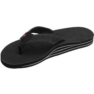 Mens Rainbow Sandals Premier Leather Double Stack Black XXX-Large (13.5-15)