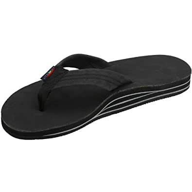 Rainbow Sandals Men's Double Layer Wide Strap, Black, Small (7.5 - 8.5)
