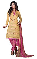Lovely Look Beige Embroidered Dress Material