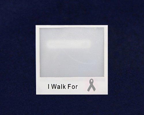 Gray Ribbon Photo Pin- I Walk For (25 Pins)