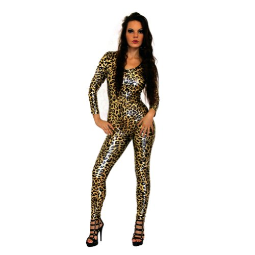 I-Glam Women's Gold Metalic Leopard Print Leather Catsuit Bodysuit