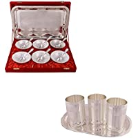 Silver Plated 6 Mor Bowl With Spoon And Tray And Silver Plated 3 Premium Glass Set With Oval Tray