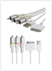 JOMOQ(TM) High Quality Composite AV to TV RCA Cable +USB Charger for iPad2/iPad3,iPhone4/4S, 3GS, iPod,Touch,Firmware iOS 5