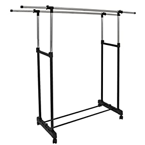 portant pour v tements tringle double r glable en hauteur et en largeur avec roulettes. Black Bedroom Furniture Sets. Home Design Ideas