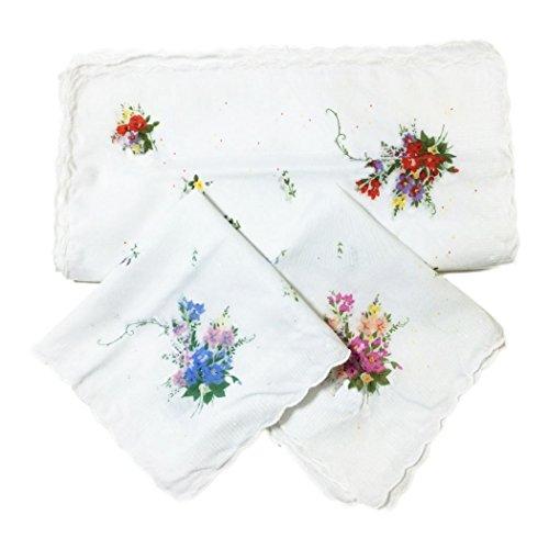 Owm Handkerchiefs White Dozen Floral And Daisy Scallop Cute Handkerchiefs