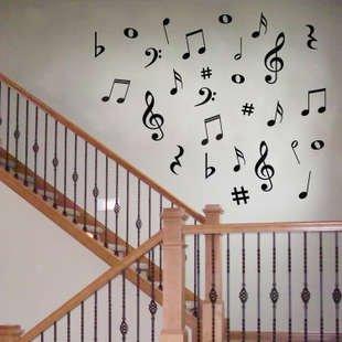 楽しい 音符や ト音記号の ウォールステッカー 音楽教室の装飾にも