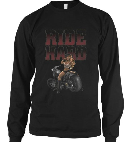Ride Hard Sexy Motorcycle Chick Mens Thermal, Ride Hard Chopper Mens Long Sleeve Thermal, X-Large, Black
