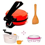 Matangi Steel Red Roti Maker Combo (with Dough Maker Machine, Measuring Cup, Casserole & Wooden Spatula)