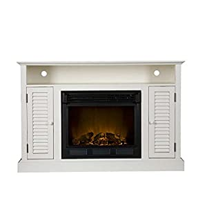 Genevieve Antique White Media Tv Stand Electric Fireplace Up To 50 Home Kitchen