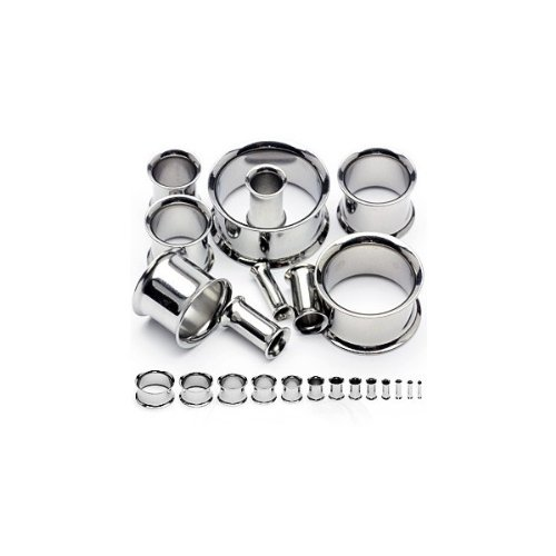 Urban Body Jewellery Surgical Steel Ear Stretching Flesh Tunnels 9 Piece Starter Kit