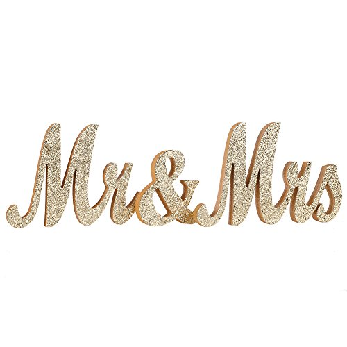 Ling's moment Vintage Champagne Glitter Mr & Mrs Wooden Letters for Wedding Decoration