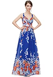 Ever Pretty Women's Cross Back Ruched Bust Floral Printed Party Dress 08423