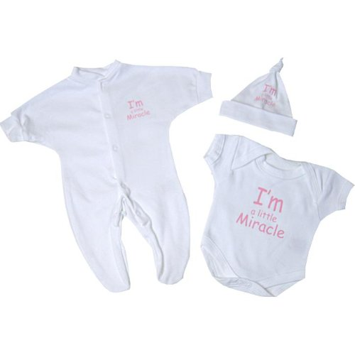 Premature Early Baby Clothes 3 Piece Set - Sleepsuit, Bodysuit & Hat 1.5lb - 7.5lb I'm a Little Miracle' Pink or Blue