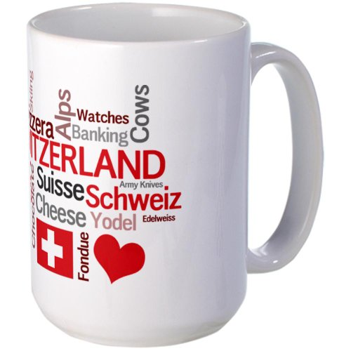 CafePress - Switzerland - Favorite Swiss Things Large Mug - Coffee Mug, Large 15 oz. White Coffee Cup (Skiing Coffee Cup compare prices)