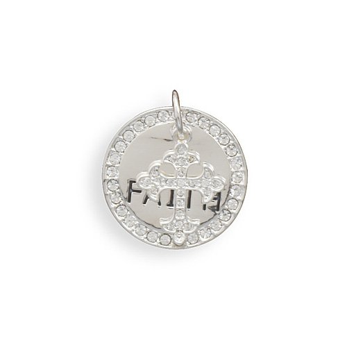 CleverSilver's Faith Fashion Pendant With Crystal Edge And Crystal Heart Charm