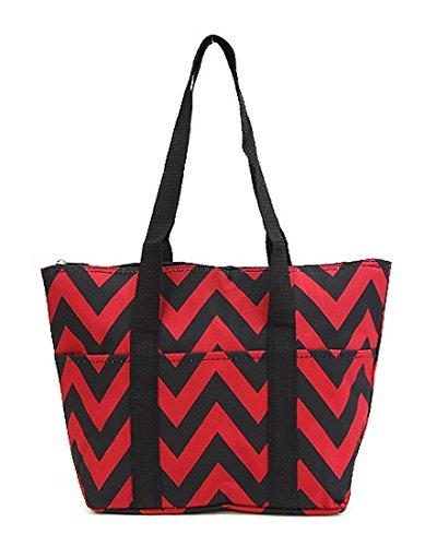 "14.5"" Chevron Microfiber Insulated Lunch Tote Shoulder Bag with Pockets (Black/Red) - 1"