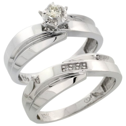 Sterling Silver 2-Piece Diamond Engagement Ring Set, w/ 0.07 Carat Brilliant Cut Diamonds, 1/4 in. (6mm) wide, Size 9.5