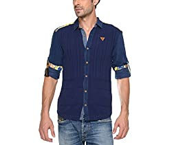 Copperstone Men's Casual Shirt (8903944571709_Blue_XX-Large)