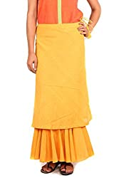 INDIAN AUGUST WOMEN'S COTTON DOUBLE LAYERED SKIRT_S-6_YELLOW_XL