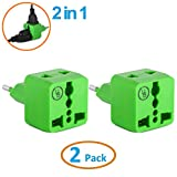 Yubi Power 2 in 1 Universal Travel Adapter with 2 Universal Outlets - Built in Surge Protector - Green - Type C for France, Germany, Hungary, Portugal, Russia, Spain, Sweden, Egypt, Turkey, and more!