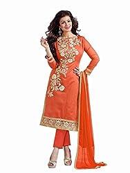 Shreenath Creation Women's Chanderi Cotton Long Salwar Suit Dress Material (Dreamgirl040_Orange)