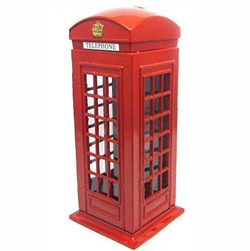 Happy& Shopping Original British English Metal Alloy Money Coin Spare Change Piggy London Street Red Telephone Booth Bank Souvenir Model Box Jar