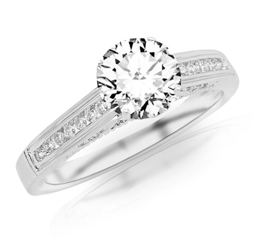 1.4 Carat Classic Channel Set Diamond Engagement Ring w/ Round Brilliant Cut Center (J Color VS2 Clarity)