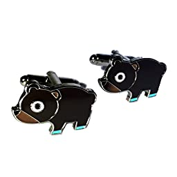 Men\'s Bear Cufflinks for Business or Weddings with Gift Box