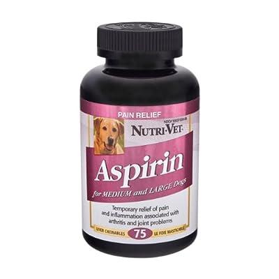 Nutri-Vet® K-9 Aspirin 300mg Chewables for Large Dogs, 75ct Bottles, Safety Sealed