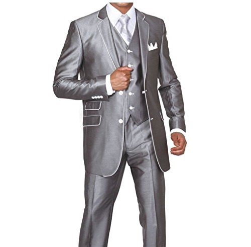 MYS Men's Custom Made Slim Fit Wool Feel Two Button Tuxedo Suit Pants Vest Set Silver Size 40R (Fat Daddy Button compare prices)