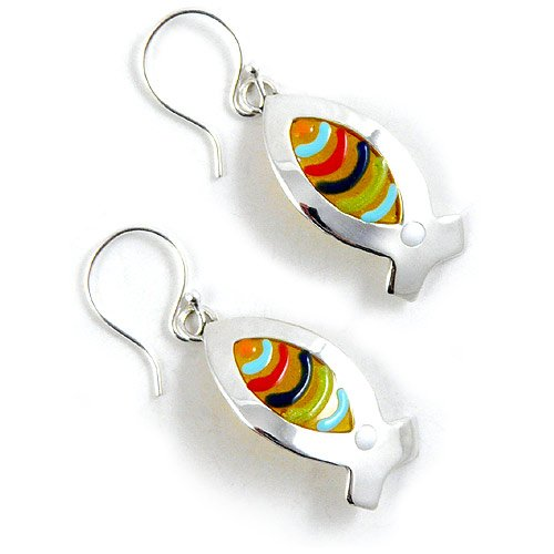 Fish Earrings, Sterling Silver and Fused Resin, Made in the USA