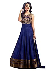 KHAZANAKART WOMEN BLUE NET DESIGNER DRESS MATERIALS