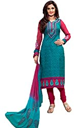 Vivacity Women's Cotton Unstitched Dress Material (Printed-05_Blue_Free Size)