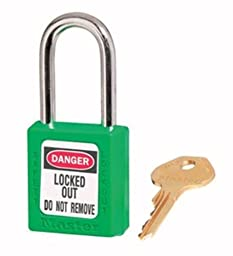Master Lock 410KAGRN2KEY Safety Series Padlock for Lockout/Tagout Applications, Green