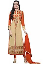 Aryan Fashion Designer Cream & Orange Embroidered Semi-Stitched Long Salwar Suit For Women & Girls Party Wear...